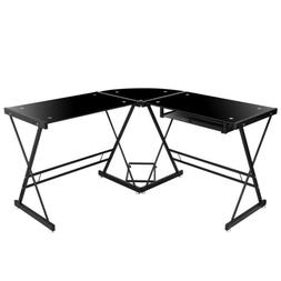 L Shaped Desk Glass Computer Corner Gaming at Home Office to