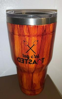 Lets Get Toasted Wood Grain 30 Ounce Custom Tumbler Cup NEW