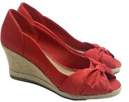 """Life Stride NEW """"Romp"""" Women size 7 M Espadrille Wedge Red F"""