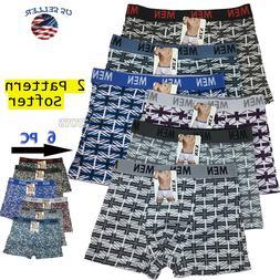 Lot 6 Pack Mens Cotton Boxer Briefs Underwear Compression St