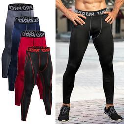 Mens Compression Pants Base Layer Long Tight Leggings Gym Sp
