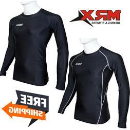 Mens Compression Shirt Long Sleeve Base Layers Tights Sports
