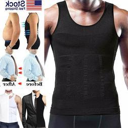 Mens Compression Shirt Slimming Body Shaper Vest Workout Abs