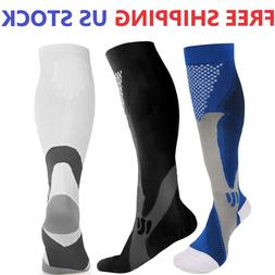 Mens Compression Socks 20-30 mmhg Sports Knee High for Runni