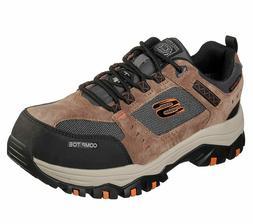 Skechers Mens Greetah Comp Toe Work Shoes 77183 Brown/Black