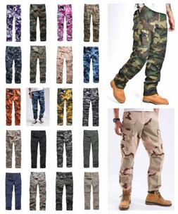 Mens Casual Work Camp Cargo Pants Trousers Military Combat A