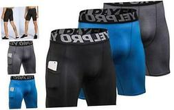 Mens Running Compression Shorts with Pocket Workout Cool Dry