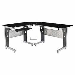 "HomCom 65"" Modern Corner L-Shaped Glass Top Computer Desk Wi"