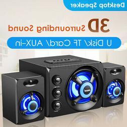 Multimedia 2.1 LED Heavy Bass Subwoofer Speakers USB For Des
