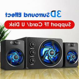 Multimedia 2.1 LED Heavy Bass Subwoofer Speaker USB For Desk