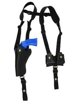 NEW Black Leather Vertical Shoulder Holster w/ Speed-loader