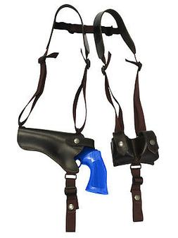 NEW Brown Leather Horizontal Shoulder Holster w/ Speed-loade
