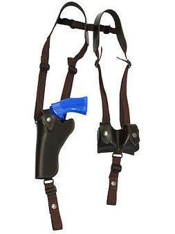 NEW Brown Leather Vertical Shoulder Holster w/ Speed-loader