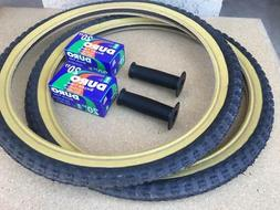 "PAIR of 20"" BMX Bicycle COMP3 BLACK Gumwall MX3 Tires/Tubes"