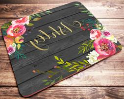Personalized Custom Name Watercolor Flowers Mouse Pad Comput