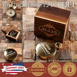 PERSONALIZED Engraved Compass Gold Brass in Wood Custom Fath