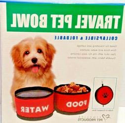 Pet Bowls Food Water Collapsible Foldable Compact Size For T