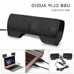 Portable Mini USB Clip-On 2.0 Speakers Stereo For Laptop Not