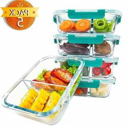 Premium Glass Meal prep Containers 2 compartments leak proof