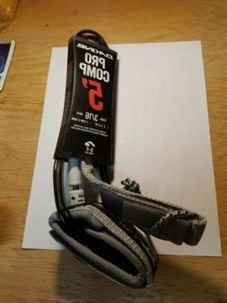"Dakine Pro Comp Surfboard Leash 5' x 3/16"" - Irons Black Gre"