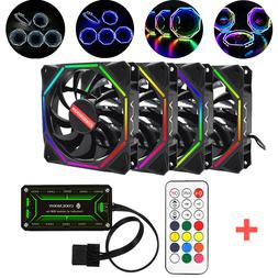 INSMA RGB LED Quiet Computer Case PC Cooling Fan 120mm+Remot