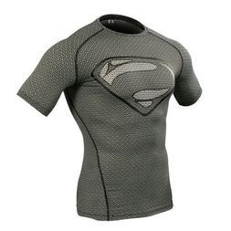 Superman Logo Men's Compression Base Layer Short Sleeve Shir