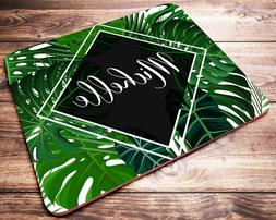 Tropical Leaves PERSONALIZED Custom Name Mouse Pad Computer