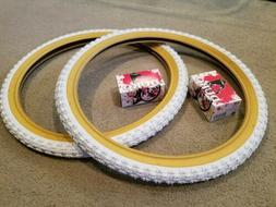 TWO DURO 20X1.75 BMX BICYCLE TIRES WHITE GUMWALLS COMP 3 MX3