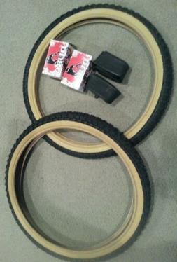 TWO DURO 20X2.125 BMX BICYCLE TIRES BLACK GUMWALLS  & 2 TUBE
