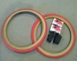TWO DURO 20X2.125 BMX BICYCLE TIRES RED GUMWALLS  COMP 3 TYP