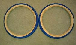 TWO DURO 20X2.125 BMX BICYCLE TIRES BLUE GUMWALL COMP 3 MX3