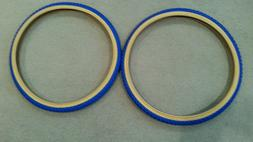 TWO DURO 24X1.75 BICYCLE TIRES BLUE GUMWALL 50 PSI, BMX COMP