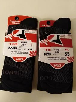 Two Pair, Pro feet Compression Socks Large for sizes 10-13 N