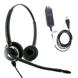 USB Computer Headset,Plug N Play USB Headset Adapter built i