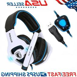 USB Headset with LED Microphone Noise Cancelling Computer PC