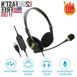 USB Headset with Microphone Noise Cancelling Computer PC Hea