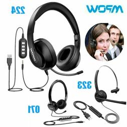 Mpow USB Noise Cancelling Microphone Computer PC Headset Hea