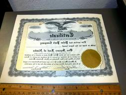vintage One Square foot of Alaska certificate from the 1970s