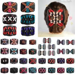 Women Magic Hair Comb Clip Double Slide Crystal Beads Elasti