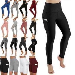 Womens Sport Yoga Pants High Waist Gym Fitness Compression L