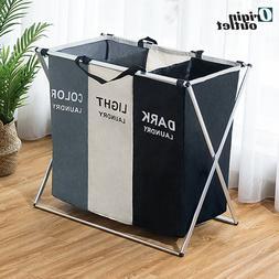 X shaped foldable laundry hamper with 3 sorter organizer sto